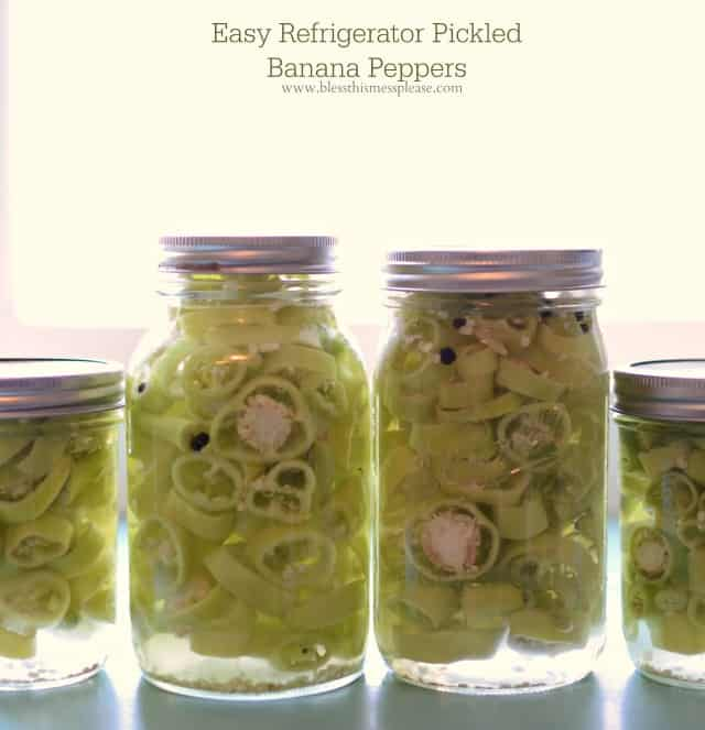 Quick and Easy Refrigerator Pickled Banana Peppers - Bless This Mess