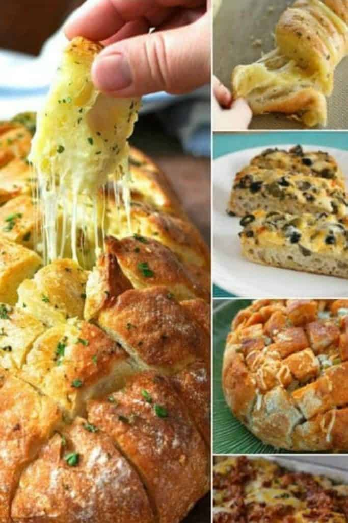 A collage of five different types of cheesy breads