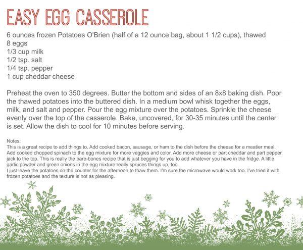 Egg Casserole Recipe Card