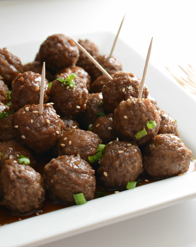 Slow Cooker Honey Teriyaki Meatballs -quick and easy perfect for a party!