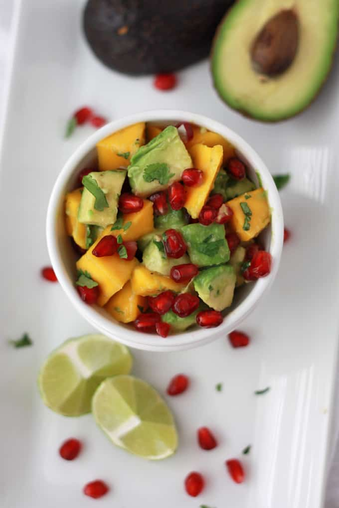 Pomegranate Mango Salsa in a white bowl