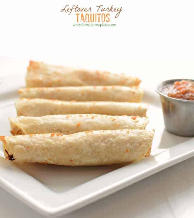 You'll love these easy taquitos made with leftover turkey.No turkey on hand? Just about any shredded cooked meat will work - chicken, pork, or lamb!