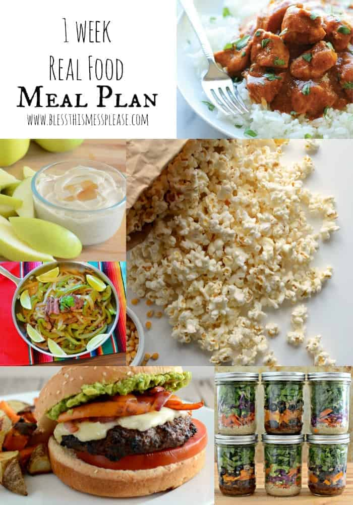 1 week real food meal plan the whole family loves