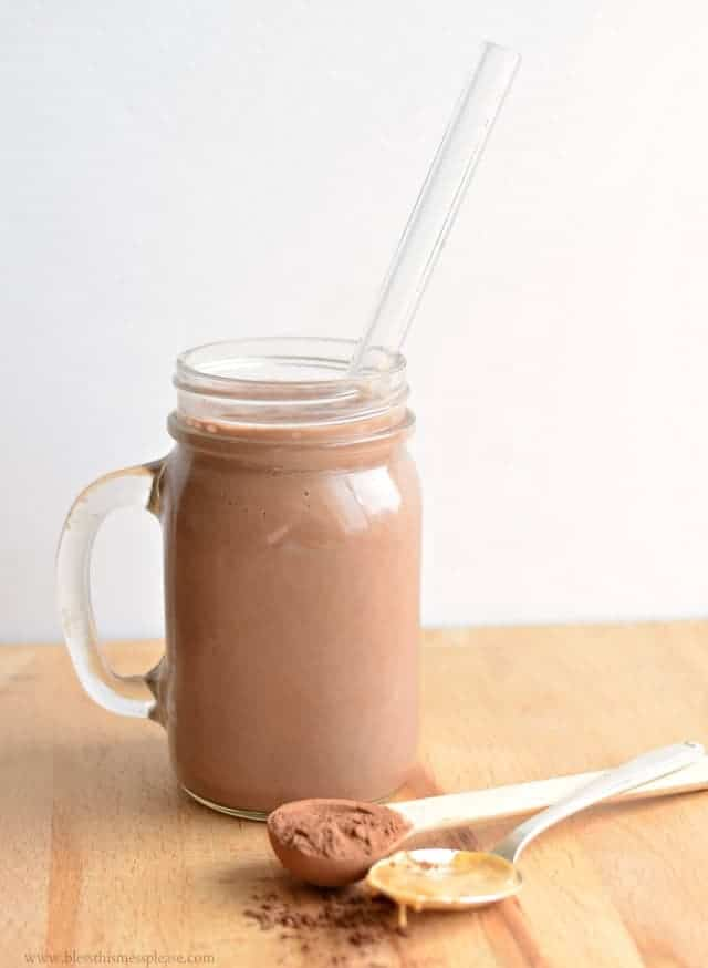 Healthy Chocolate Peanut Butter Protein Smoothie