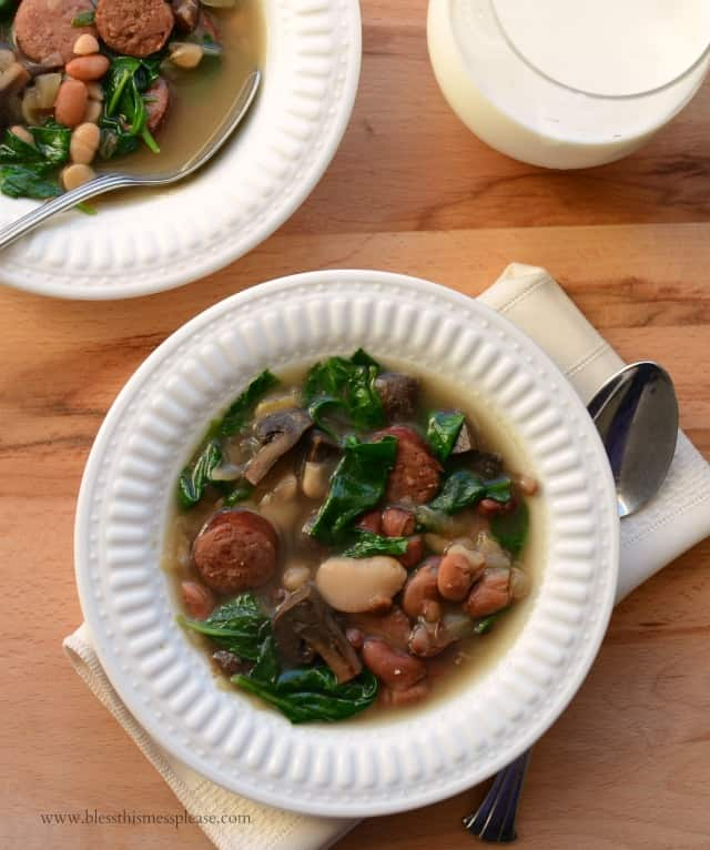 America's Test Kitchen's Healthy Slow Cooker Bean and Sausage Soup with Spinach