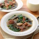 Healthy Slow Cooker Bean and Sausage Soup with Spinach