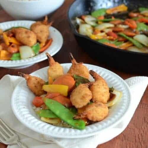 30 Minute Stir Fry with Crispy Shrimp