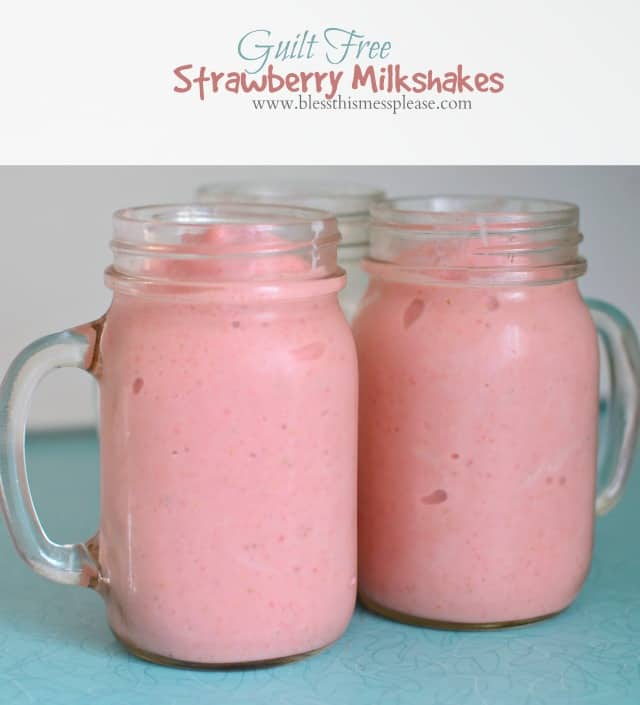 Guilt Free Strawberry Milkshakes for the win!