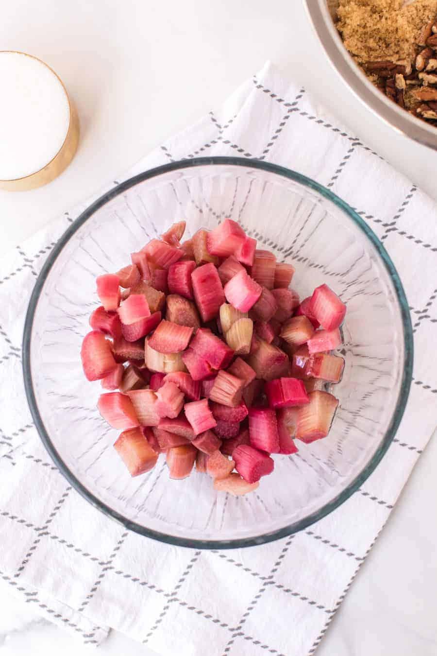 chopped rhubarb in clear glass bowl