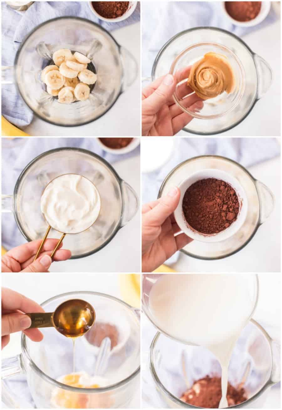 how to make healthy chocolate peanut butter smoothies with bananas step by step collage image