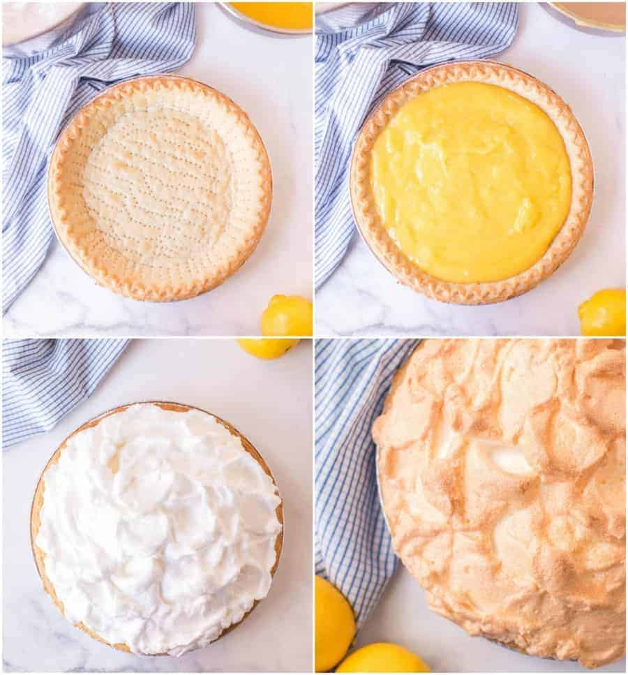 how to make lemon meringue pie collage showing pie crust lemon custard filling and meringue