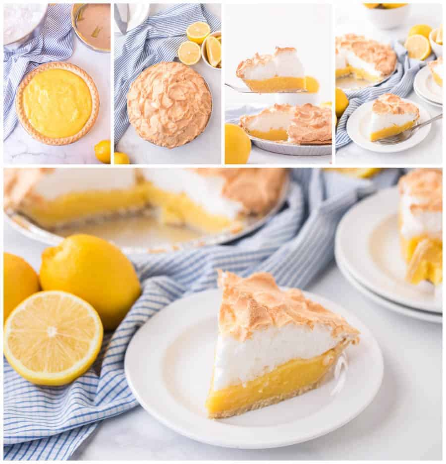 collage image of lemon meringue pie slices with lemons and blue checkered towel