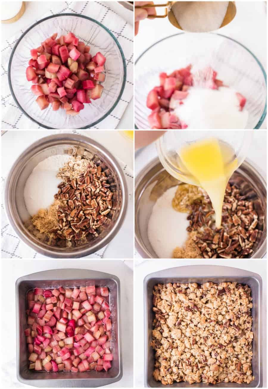 collage image of how to make homemade rhubarb crisp