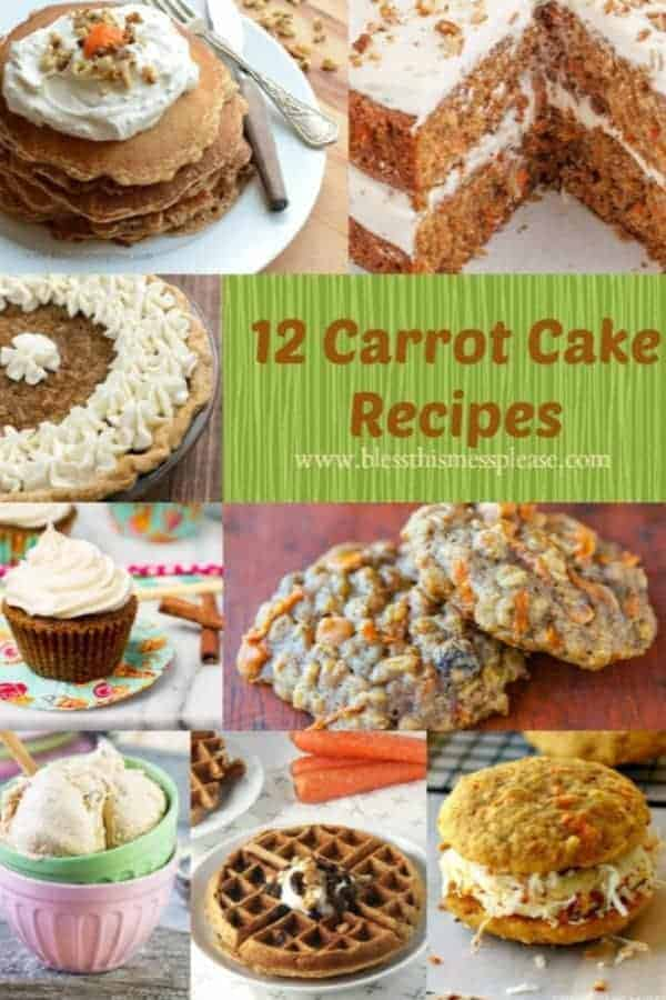 Title Image for 12 Carrot Cake Recipes with examples of 8 carrot cake inspired recipes