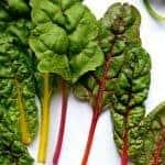 Leaves of fresh rainbow chard