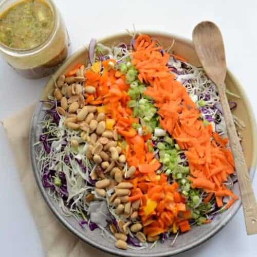 Chopped Asian Peanut Salad with Homemade Peanut Dressing