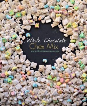 This White Chocolate Chex Mix is a cross between Puppy Chow and Lucky Charms. It is pretty and delicious, and makes for a fun treat!