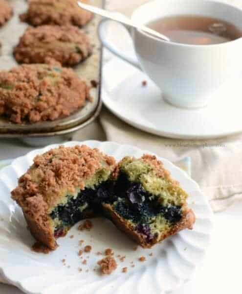 These Blueberry Muffins with Crumb Topping are moist, sweet, full of fruit, and the best part? That topping! You are going to love them!
