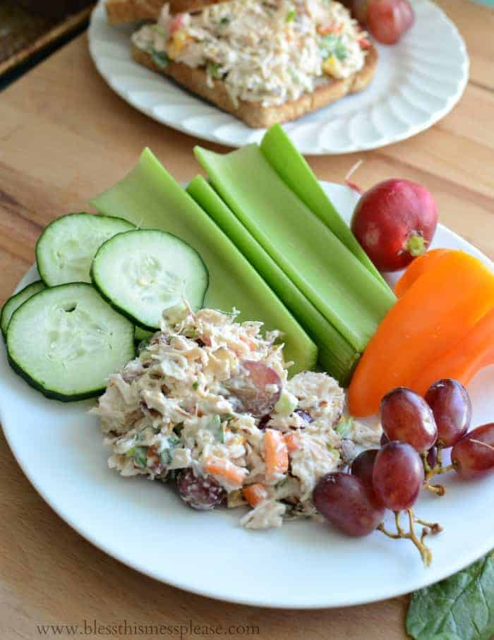 Quick and Easy Summer Chicken Salad is one of my favorite dishes to throw together in a hurry and eat for the next few days.