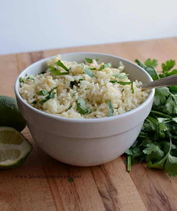rice in a white bowl