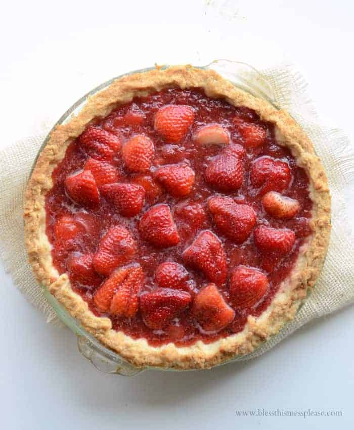 This Fresh Strawberry Pie is perfect! No Jello or fake strawberry flavor required, and you can use fresh berries or a mix of fresh and frozen!