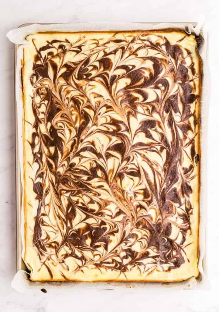 top view of a pan of cheesecake brownies