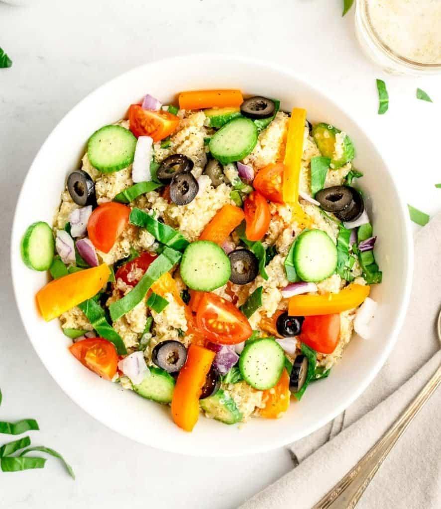 top view of a bowl of quinoa salad