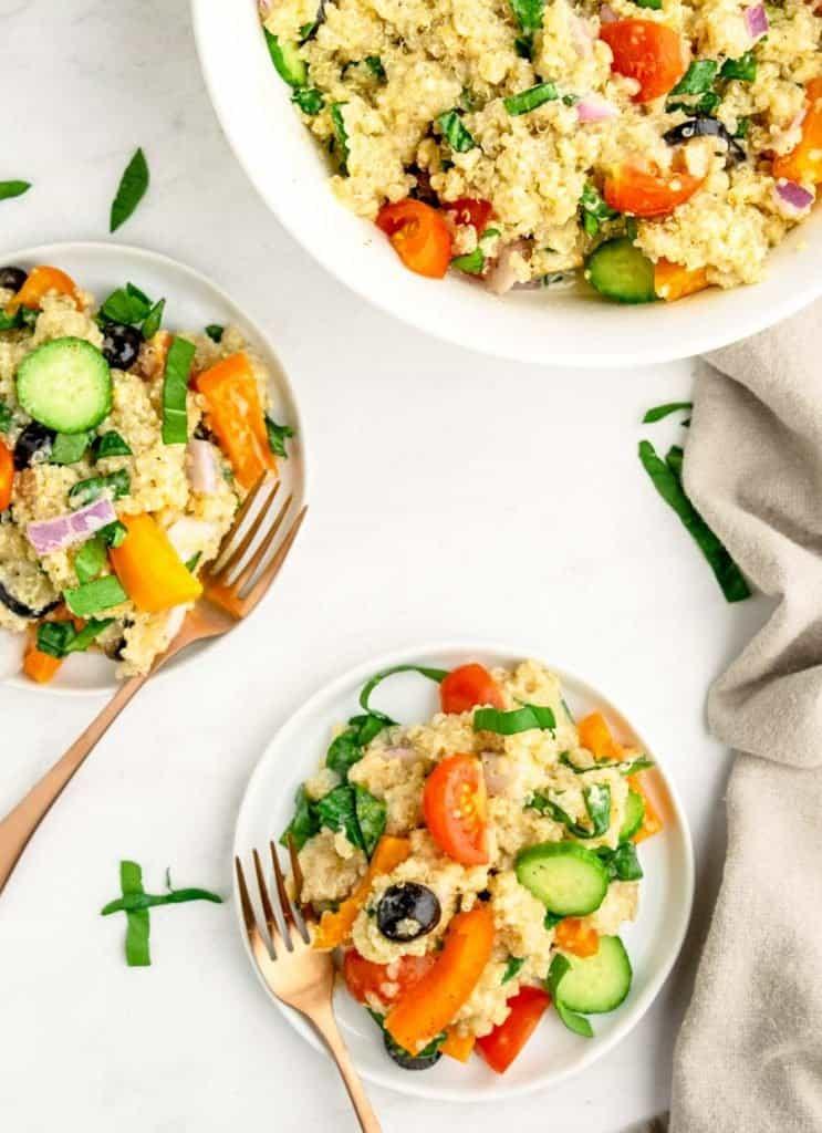 picture of plates of quinoa salad