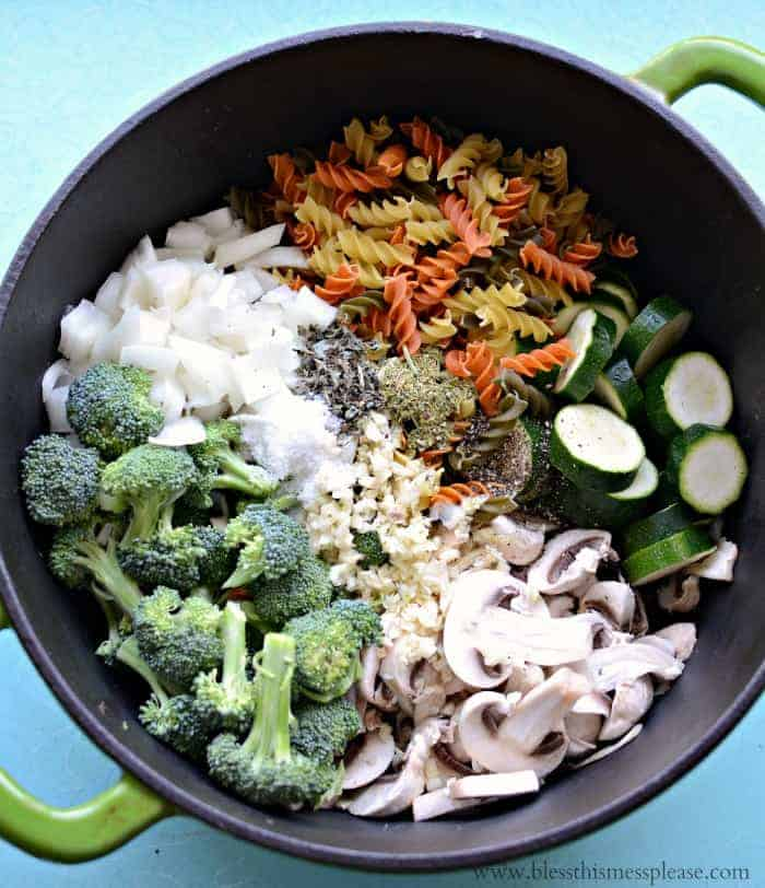 One Pot Pasta Primavera cooks in about 10 minutes and your done!