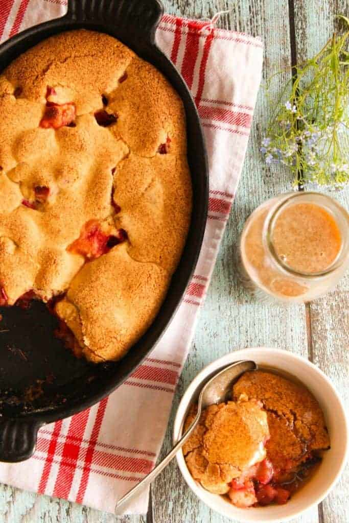 strawberry rhubarb cobbler with caramel sauce