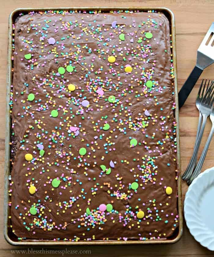 Grandma Shoaf's Quick and Easy Chocolate Sheet Cake