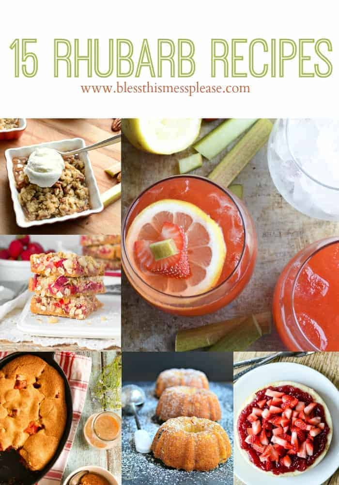 15 Fantastic Rhubarb Recipes title page with pictures of six baked goods and beverages