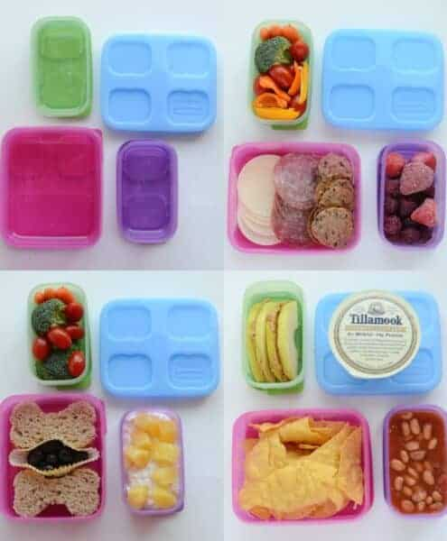 4 images of healthy packed lunches