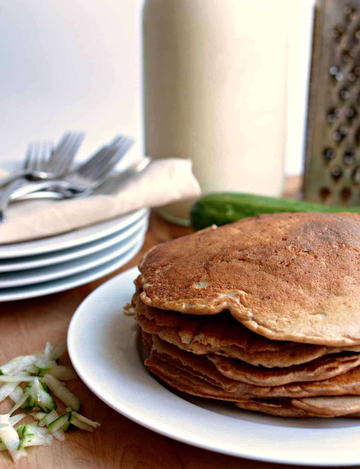 Healthy Whole Grain Zucchini Bread Pancakes - Bless This Mess