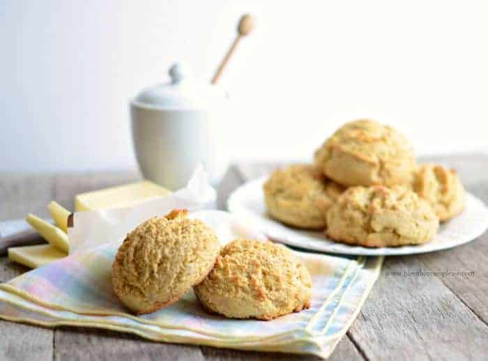 Maple Cornmeal Biscuits the perfect mix between cornbread and biscuits that only takes 5 minutes to stir together!