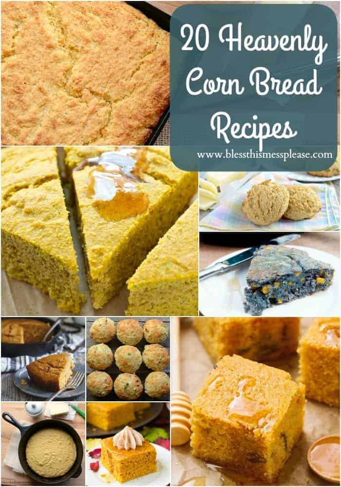 Looking for a fluffy, tasty & easy cornbread recipe to try at your next holiday celebration, or as a dinner side? Here are 20 must try cornbread recipes! #thanksgiving #cornbread