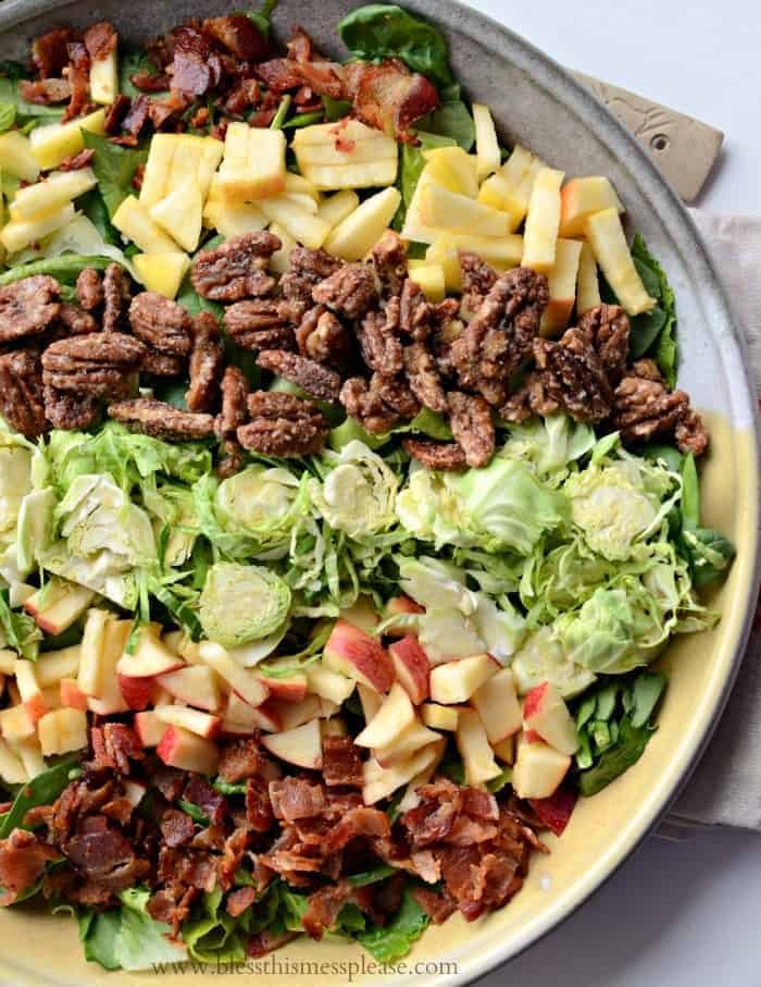 Fall Salad with Maple Candied Pecans, Bacon, Apples, and Shaved Brussels Sprouts