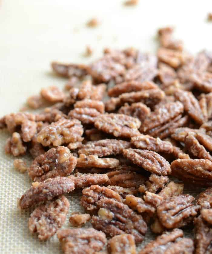 Maple Candied Pecans just cook maple and nuts together for the most addicting naturally sweet treat!
