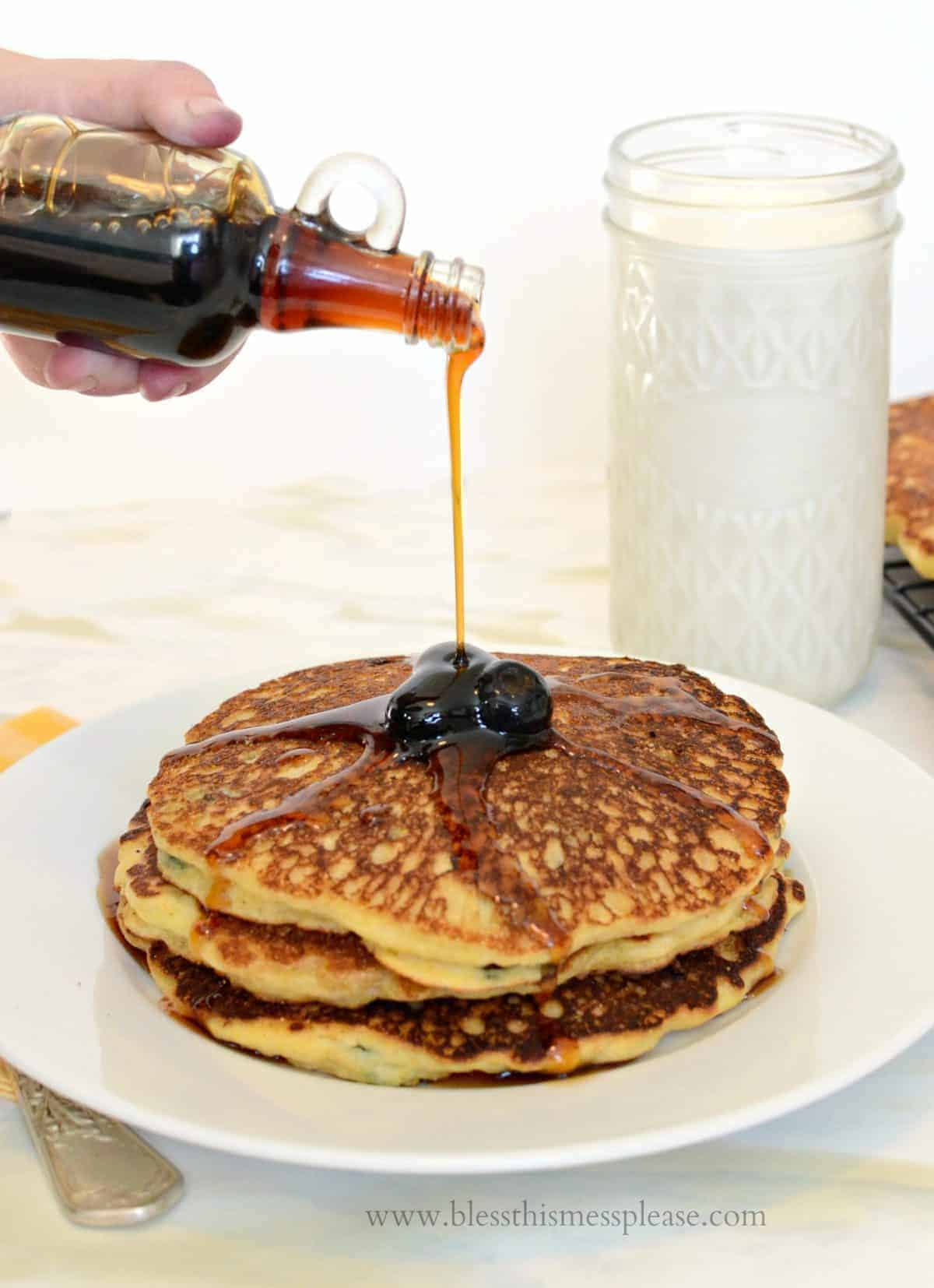 Blueberry Cornmeal Pancakes - Bless This Mess