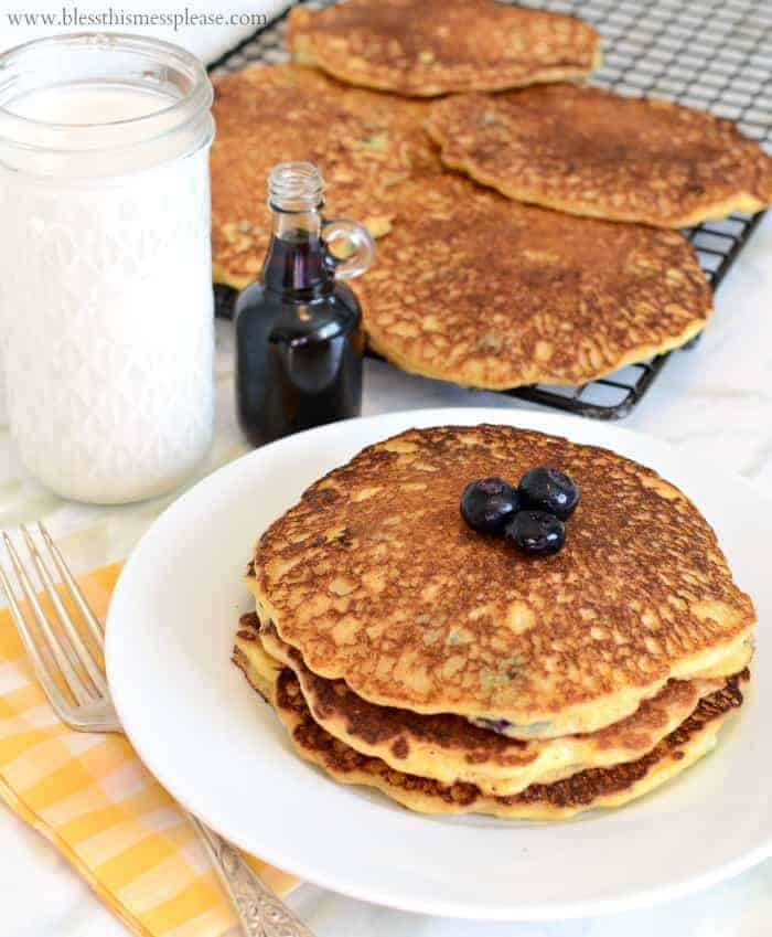 Perfect Blueberry Cornmeal Pancakes