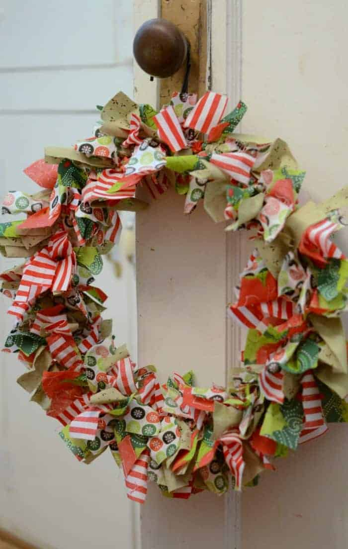 DIY Christmas Rag Wreath