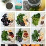 A collage of photos with smoothie ingredients including fruits, seeds, greens and almond milk