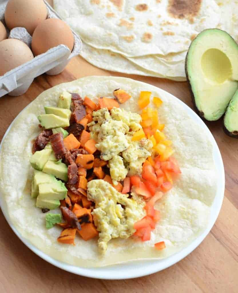 Healthy Roasted Sweet Potato Breakfast Burrito Recipe done in 20 minutes and the perfect breakfast for dinner meal