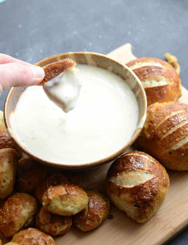 Parmesan Pretzel Bites with Parmesan Dipping Sauce Recipe