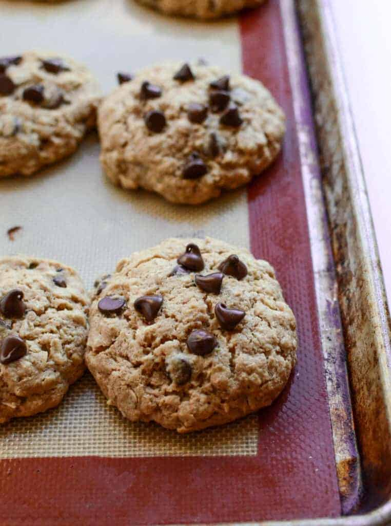 Oatmeal Chocolate Chip Cookies with honey and whole wheat flour