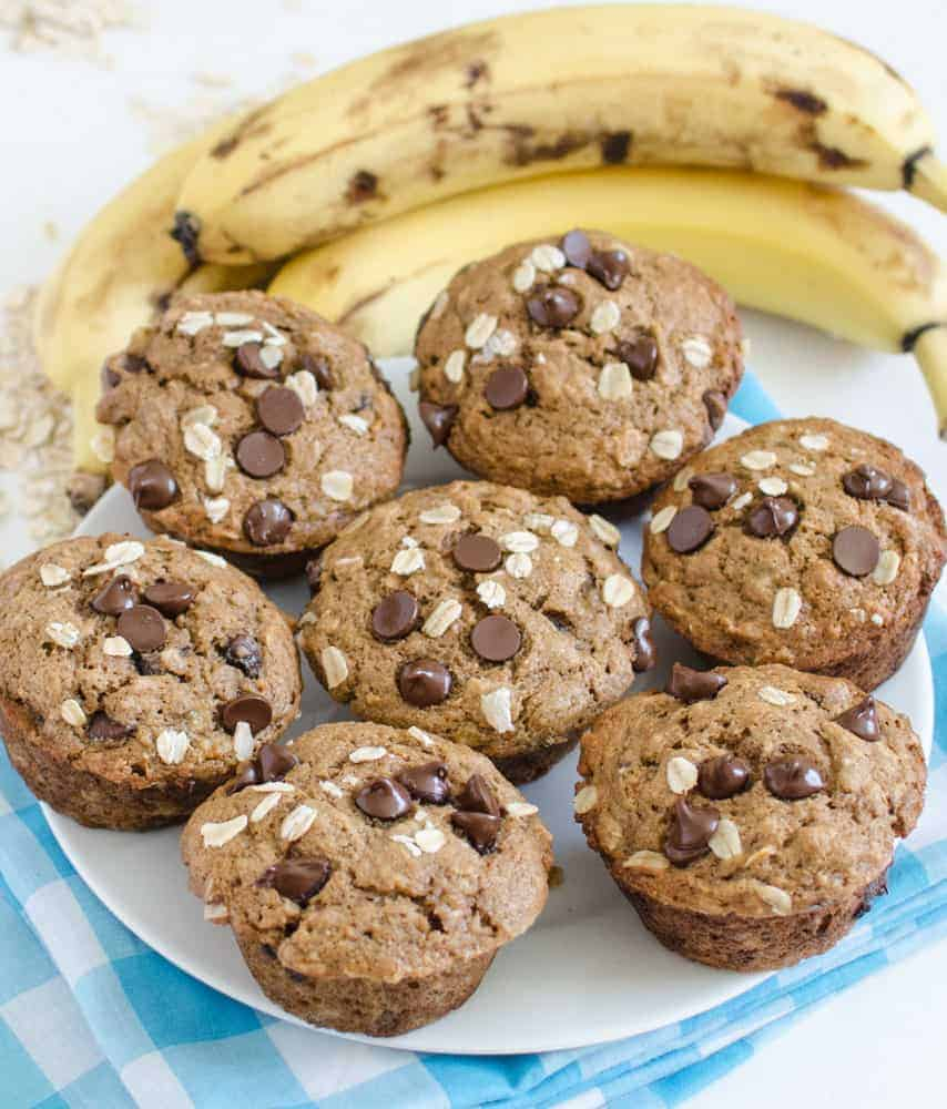 Maple Sweetened Healthy Banana Muffins recipe (with or without chocolate chips)