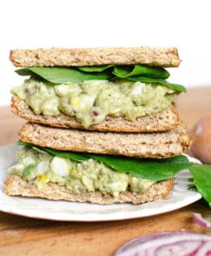 Quick and delicious Avocado Egg Salad recipe is a game changer! It's healthy and perfect on bread, crackers, in lettuce, or in a pita. Healthy lunch recipes are it's best.