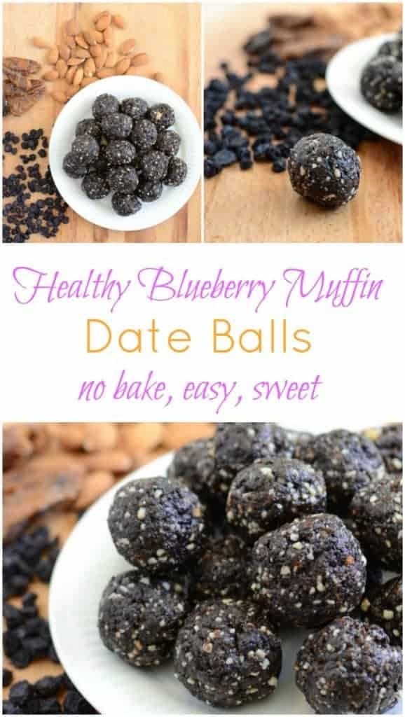 Blueberry Muffin Date Balls clean eating snack recipe that's full of protein and good fat!
