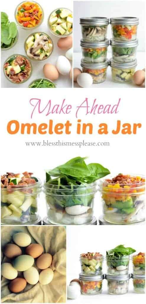 Make Ahead Omelet in a Jar is the easiest ways to eat veggies for breakfast. Prep once, eat healthy all week!