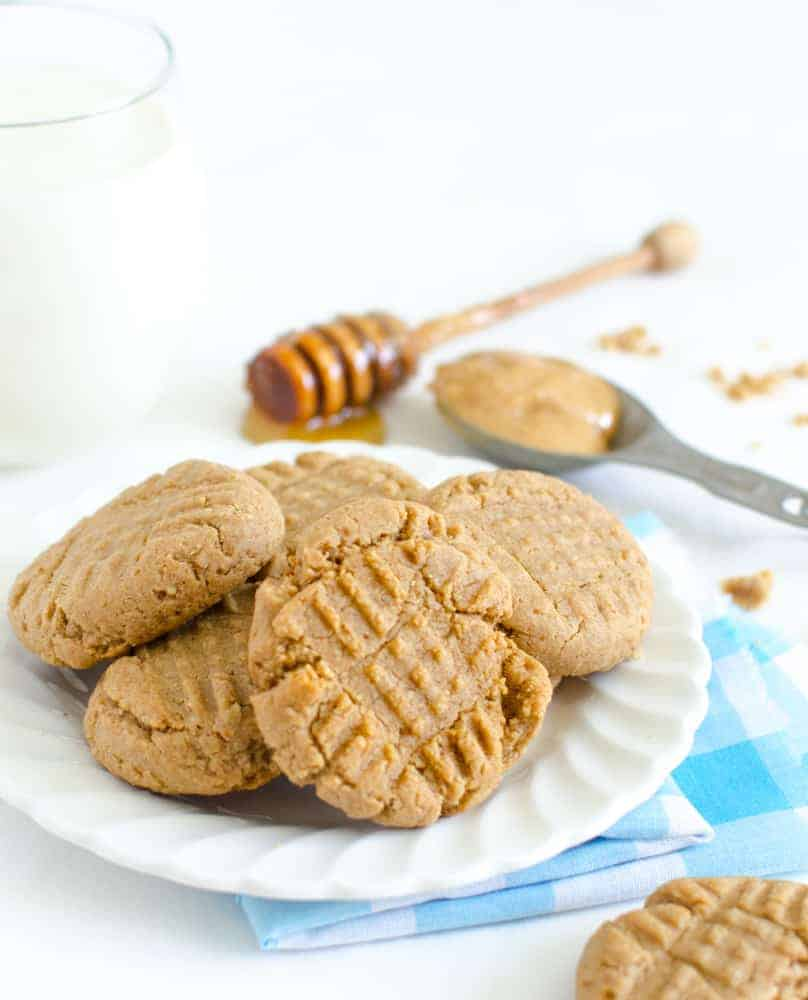 Honey Sweetened Peanut Butter Cookies (whole wheat flour)